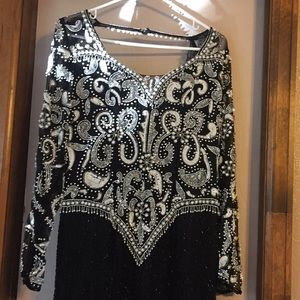 Dresses & Skirts - Black sequin and beaded black silk ball gown, XL